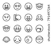 expression icons. set of 16... | Shutterstock .eps vector #791497264