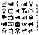broadcast icons. set of 25... | Shutterstock .eps vector #791497399