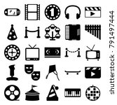 entertainment icons. set of 25... | Shutterstock .eps vector #791497444
