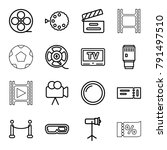 movie icons. set of 16 editable ... | Shutterstock .eps vector #791497510
