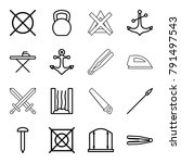iron icons. set of 16 editable... | Shutterstock .eps vector #791497543