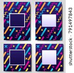 abstract geometric blue colored ... | Shutterstock .eps vector #791497843