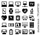 monitor icons. set of 25... | Shutterstock .eps vector #791499730