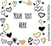 vector frame with doodle hearts ... | Shutterstock .eps vector #791507824