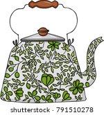 tea pot with leaf decoration | Shutterstock .eps vector #791510278