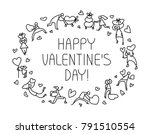 valentine day greeting card... | Shutterstock .eps vector #791510554