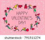 valentine day greeting card... | Shutterstock .eps vector #791511274