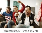 cheerful men supporting their... | Shutterstock . vector #791511778