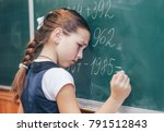 the schoolboy at the blackboard ... | Shutterstock . vector #791512843