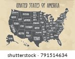 poster map of united states of...   Shutterstock .eps vector #791514634