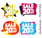 set sale tags 20  off  banners... | Shutterstock .eps vector #791517454