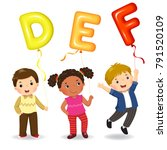 cartoon kids holding letter def ... | Shutterstock .eps vector #791520109