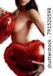 naked girl covering their... | Shutterstock . vector #791520598