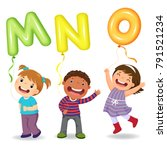 cartoon kids holding letter mno ... | Shutterstock .eps vector #791521234
