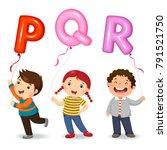 cartoon kids holding letter pqr ... | Shutterstock .eps vector #791521750