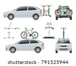 car is transporting bicycles on ... | Shutterstock .eps vector #791525944