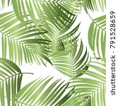 vector green palm tree pattern... | Shutterstock .eps vector #791528659