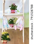 Small photo of Easter bunny stuffed toys on wooden ladder. Cute plush rabbits