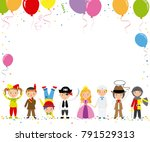 children disguised for a party. ... | Shutterstock .eps vector #791529313