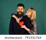 girl and bearded man with happy ... | Shutterstock . vector #791531764