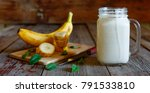 banana smoothie in a mason jar... | Shutterstock . vector #791533810