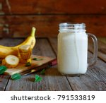 banana smoothie in a mason jar... | Shutterstock . vector #791533819