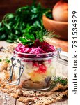 traditional russian salad with... | Shutterstock . vector #791534929