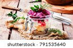 Stock photo traditional russian salad herring under a fur coat vintage wood background selective focus 791535640