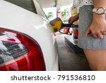 filling fuel car in petrol...   Shutterstock . vector #791536810