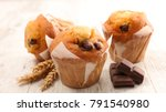 delicious chocolate muffin | Shutterstock . vector #791540980