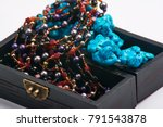 Jewelry Old Box And Blue Bead...