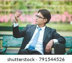 businessman thinking to goal... | Shutterstock . vector #791544526