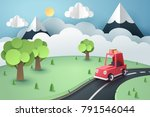 paper art of red car stop at... | Shutterstock .eps vector #791546044