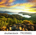 Mediterranean sea coast in Turkey - stock photo