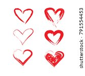 vector grunge hearts set ... | Shutterstock .eps vector #791554453