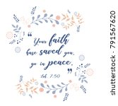 bible versus  quote with wreath ... | Shutterstock .eps vector #791567620