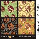 coffee beans seamless pattern ... | Shutterstock .eps vector #791573320