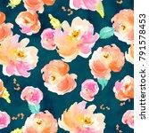 seamless pink flowers... | Shutterstock . vector #791578453