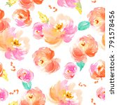 Stock photo cute watercolor floral pattern with pink and red flowers 791578456