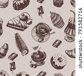 pattern with of cakes and cup... | Shutterstock .eps vector #791582716