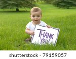 baby with a thank you sign | Shutterstock . vector #79159057