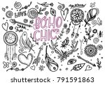 big collection of hand drawn... | Shutterstock .eps vector #791591863