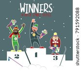 winter games winners 2018.... | Shutterstock .eps vector #791592088