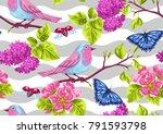 spring garden seamless pattern. ... | Shutterstock .eps vector #791593798