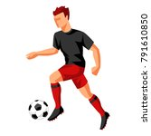 soccer player with ball. sports ... | Shutterstock .eps vector #791610850