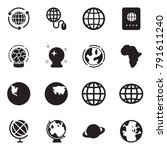 solid black vector icon set  ... | Shutterstock .eps vector #791611240