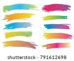 brush strokes watercolor. set... | Shutterstock .eps vector #791612698