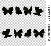 Black Butterfly Silhouette Set...