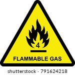 flammable gas sign  yellow... | Shutterstock .eps vector #791624218