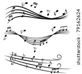 various music notes on stave | Shutterstock .eps vector #79162624